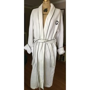 Pottery Barn Waffle Embroidered G Knit Robe M